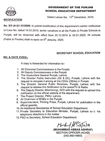 Notification Winter Vacations 2019-20