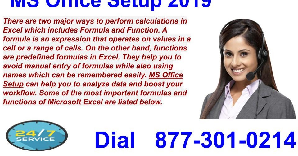 What are the common formulas used in Microsoft Office Excel?
