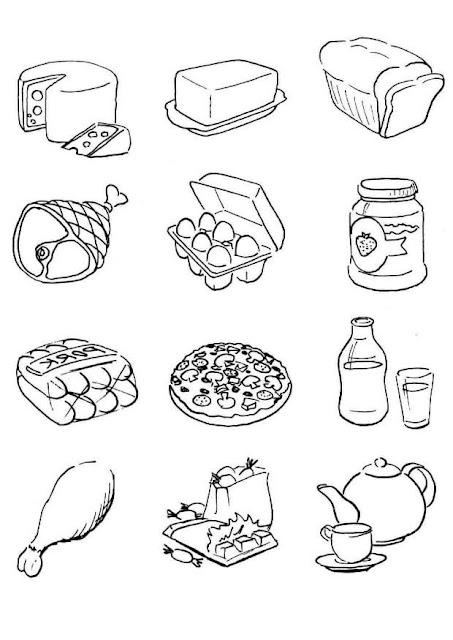 alimentos para colorear para niños