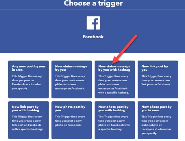 scelta del trigger di facebook