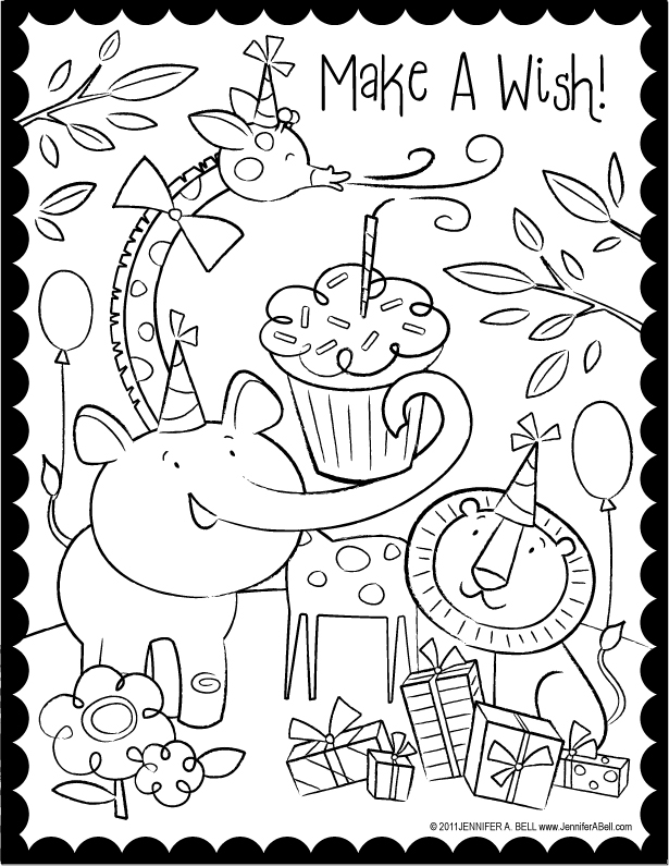 Coloring Page World: Happy Birthday Coloring Pages! (Portrait)