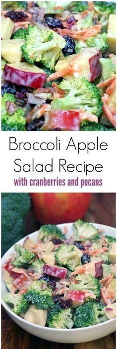 This broccoli apple salad recipe is easy to make with plenty of crunch. No bacon so it is a great meatless salad recipe and uses a lower in fat dressing by including yogurt for part of the mayonnaise. A healthy recipe for your next potluck dinner