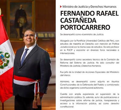Fernando Castañeda, nuevo ministro de Justicia