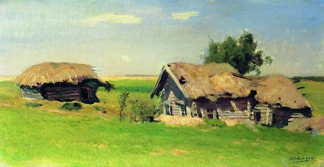 Исаак Ильич Левитан - Пейзаж с избами. 1885