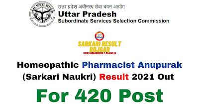 Sarkari Result: Homeopathic Pharmacist Anupurak (Sarkari Naukri) Result 2021 Out For 420 Post