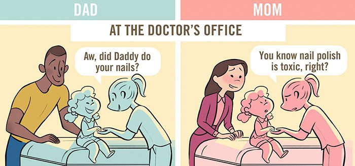Honest Comics About How Differently Society Treats Dads Vs. Moms