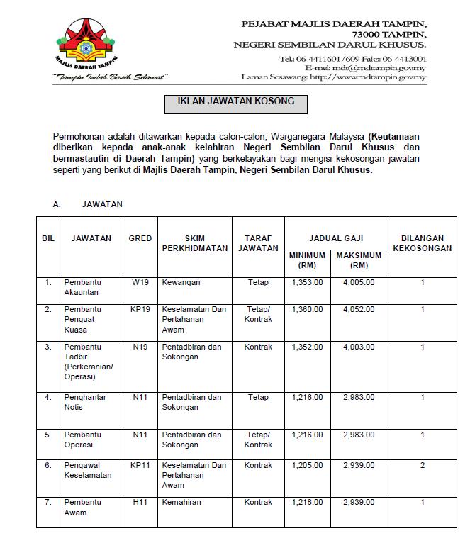 Jawatan Kosong Terkini di Majlis Daerah Tampin.