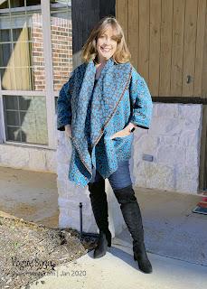 Vogue 8930 Animal Print Wrap Jacket worn by Sharon of Sharon Sews blog