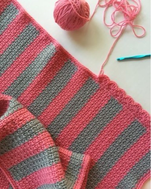 Crochet Striped Mesh Stitch Blanket - Free Pattern