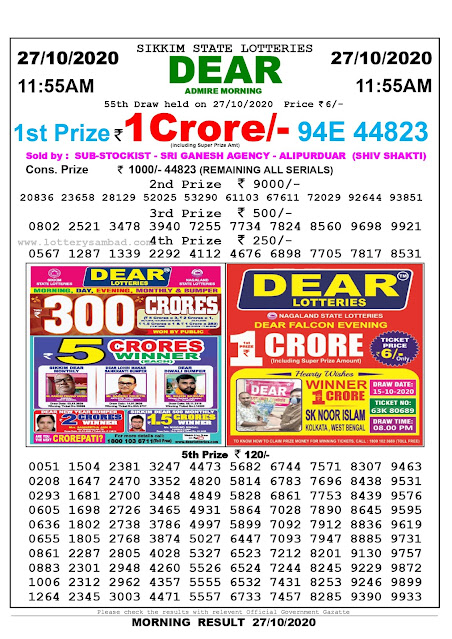 Sikkim State Lottery Result 27.10 2020, Sambad Lottery, Lottery Sambad Result 11 am, Lottery Sambad Today Result 11 55 am, Lottery Sambad Old Result