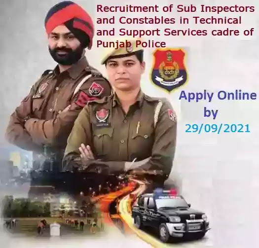 Punjab Police Technical Support Services Cadre Sub-Inspector Constable Recruitment 2021