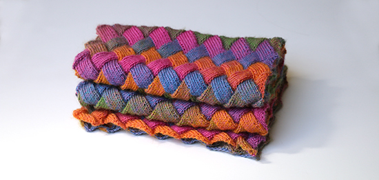 Folded Scarf Knit in Entrelac Stitch with Multicolor Wool