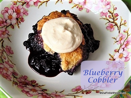 Blueberry Cobbler with rhubarb and canned cream.