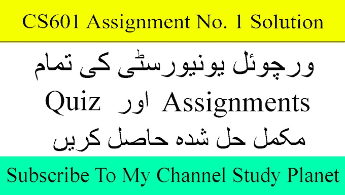 CS601 Assignment No. 1 Fall 2019 Complete Solution | Study Planet