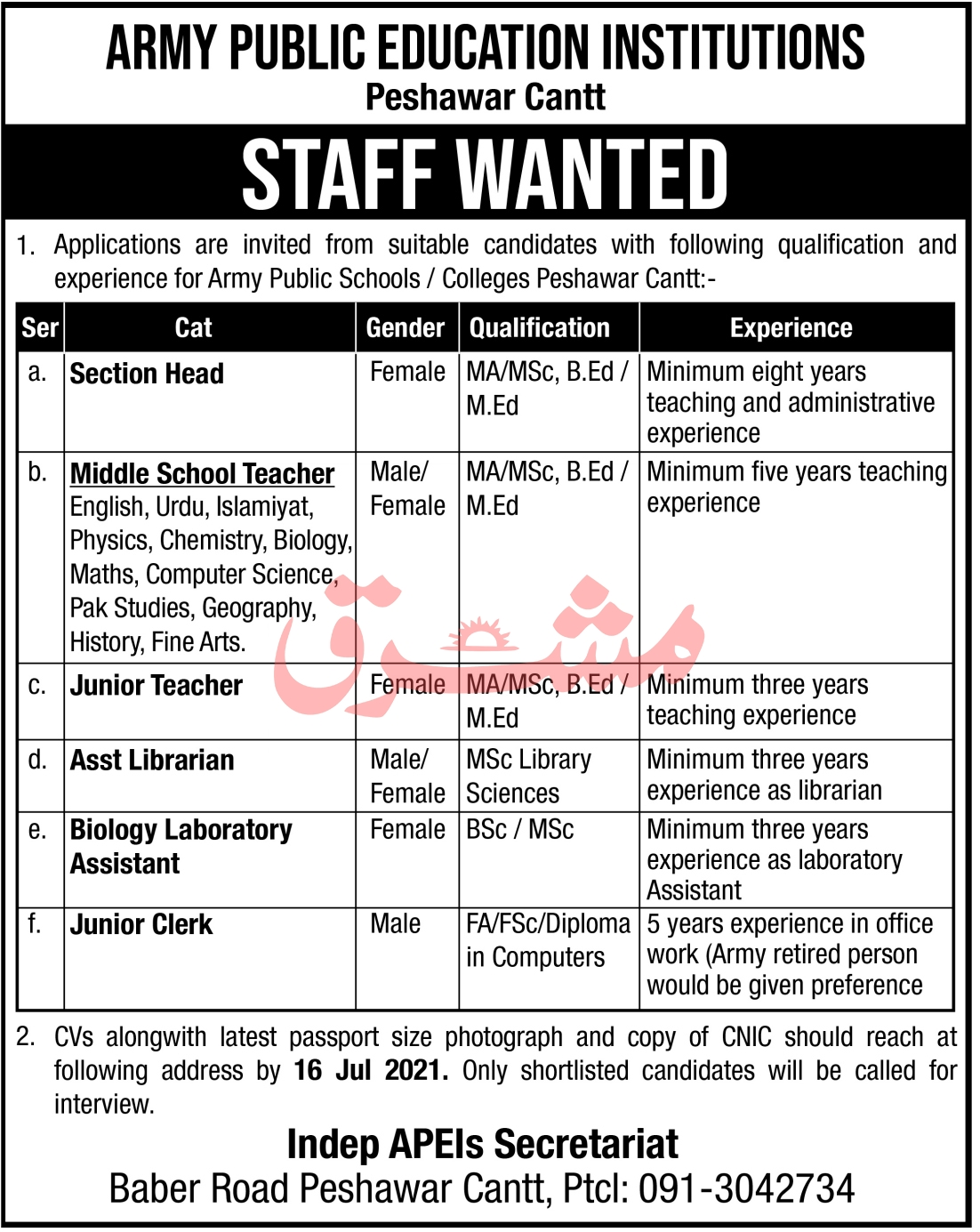 Army Public Education Institutions Peshawar Cantt Jobs 2021 in Pakistan