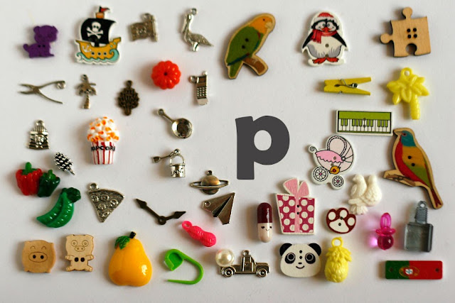 TomToy Individual letter P I spy trinkets for alphabet, Miniature abc objects, Montessori alphabet. Sorting toddler activities