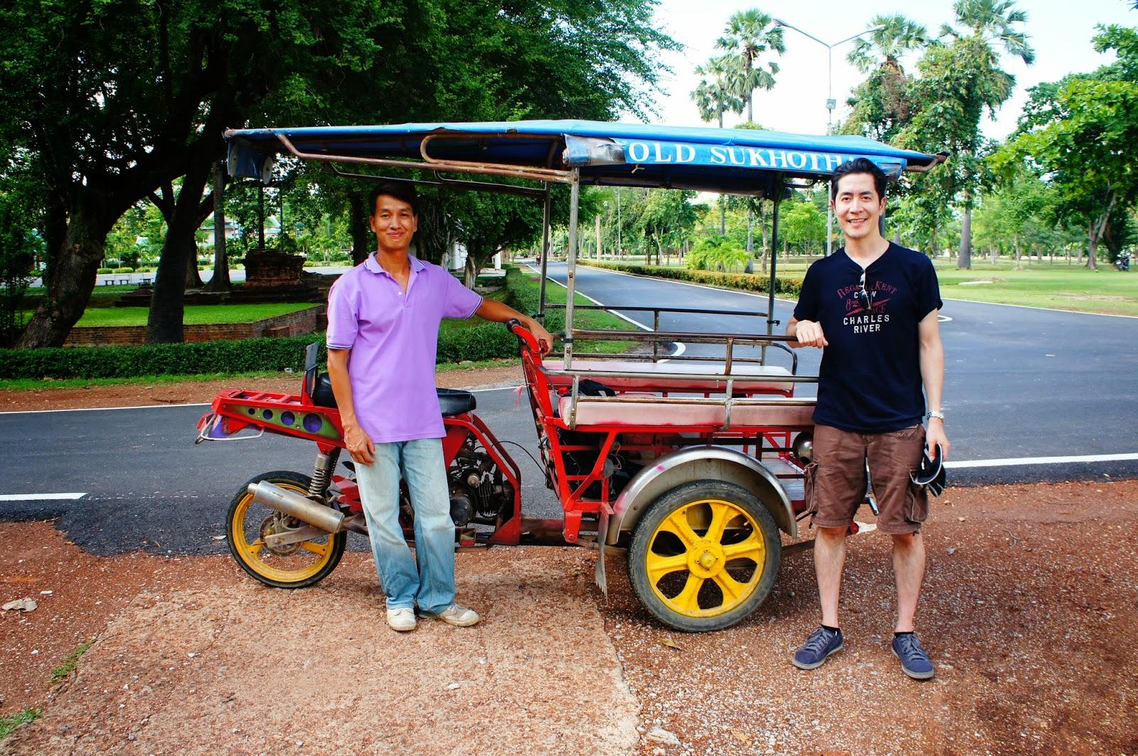Old Sukhothai - Mike and Prajin with his tuk tuk