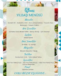Rodos Balık Koşuyolu İstanbul Yılbaşı Programı 2020 Menüsü