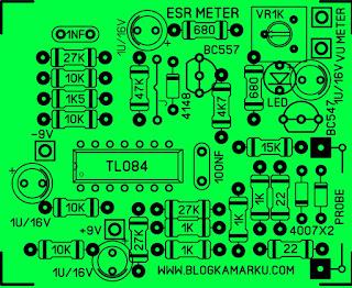 PCB LAYOUT ESR METER Sederhana IC TL 084
