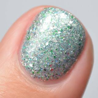 silver nail polish macro