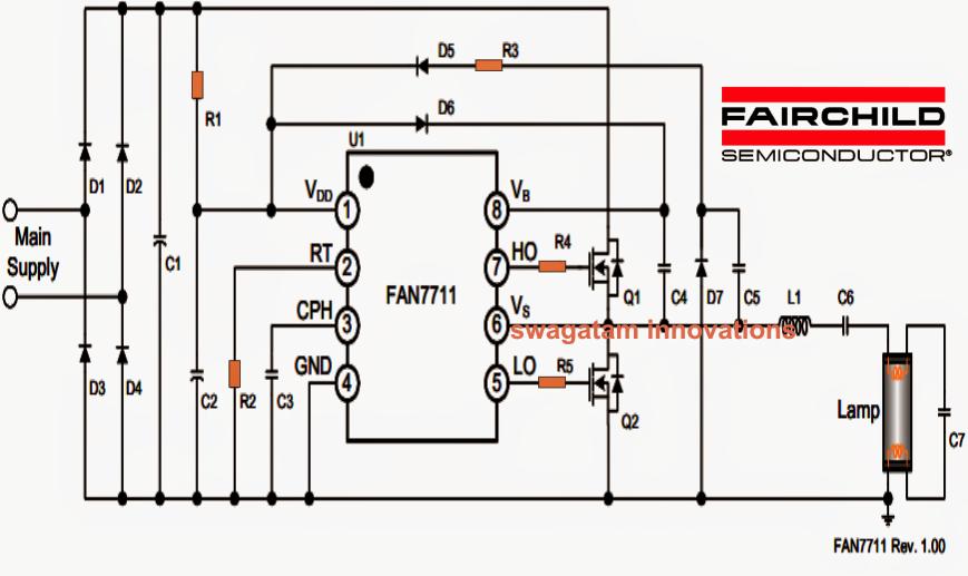 Mains 20 Watt Electronic Ballast Circuit   Circuit Diagram