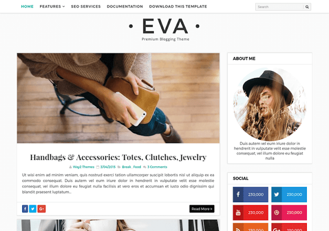 Download Eva Simple Blogger Template
