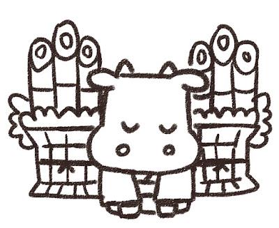 門松の前で挨拶をする牛のイラスト(丑年・白黒線画)