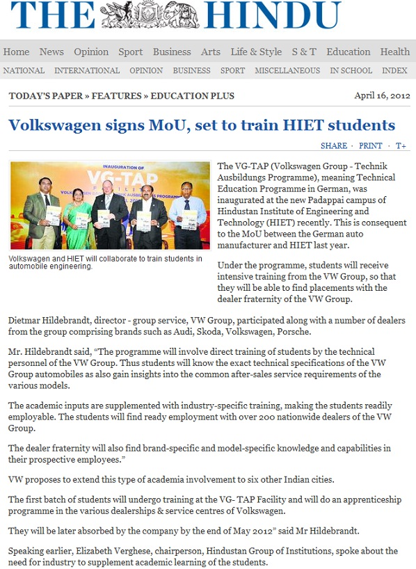 Volkswagen signs MoU, set to train HIET students (Courtesy