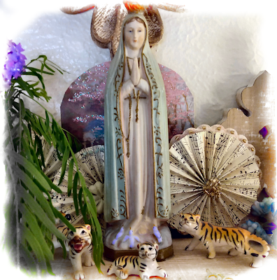 The Virgin Mary at Fatima with sand verbena and mesquite