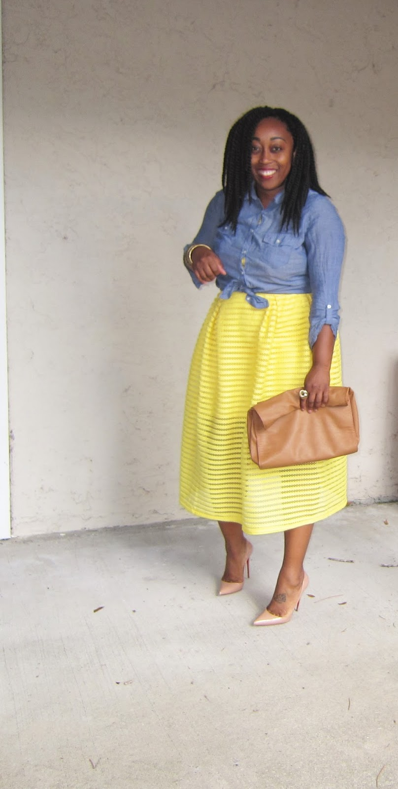 Outfit Denim Top and Bright Yellow Bottoms