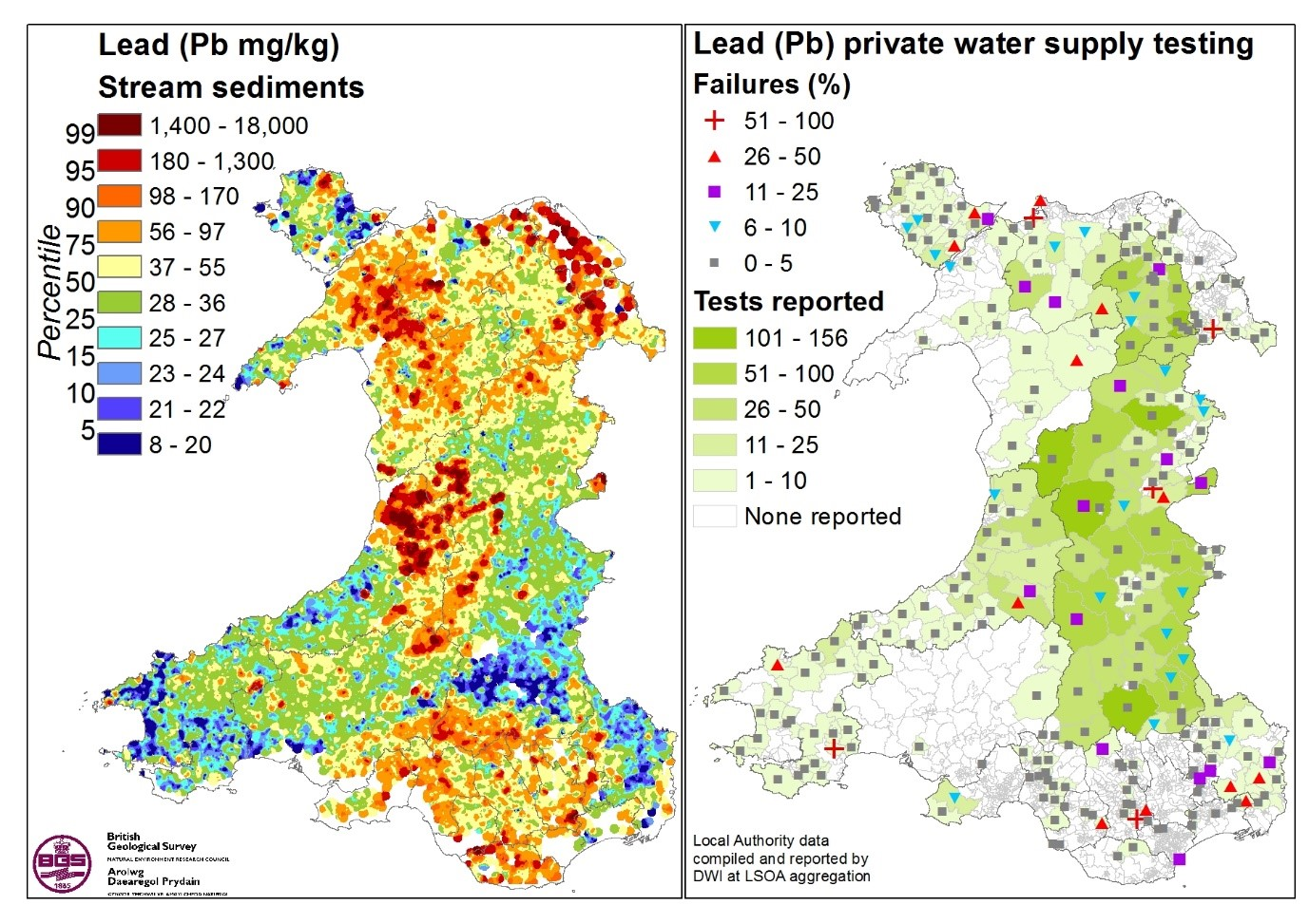 an example of integrating existing stream sediment pb data left with private water supply testing failures right private water supply data drinking