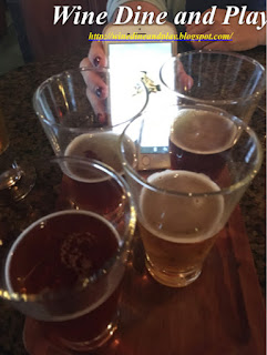 A Sam Adams beer flight to go with the Oktoberfest fondue menu at the Melting Pot restaurant in St. Petersburg, Florida.
