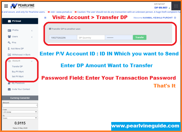 How to Transfer Dp in Pearlvine DP Kaise Transfer Kare
