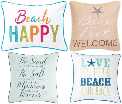 Embroidered Beach Quote Pillows