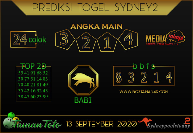Prediksi Togel SYDNEY 2 TAMAN TOTO 13 SEPTEMBER 2020