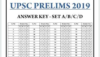 UPSC Prelim 2019 Answer Key Question Paper 1 PDF
