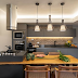 Cozinha contemporânea e campestre cinza e amadeirada com frontão em tijolinhos!