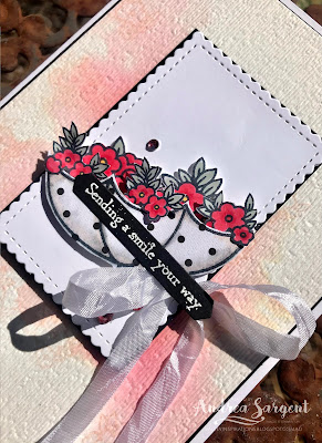 A card featuring Stampin' Up!s Poppy Parade, with Under My Umbrella and water colouring, stamping and alcohol pens blending by Andrea Sargent at Valley Inspirations, Australia.