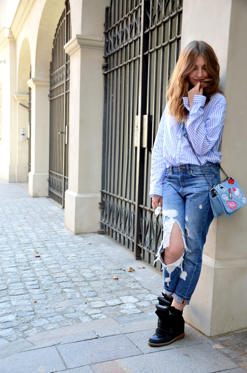 Striped Shirt & Boyfriend Jeans
