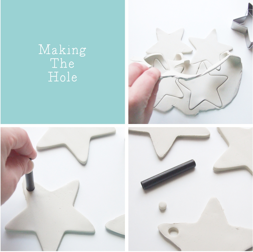 Diy embossed clay star decorations