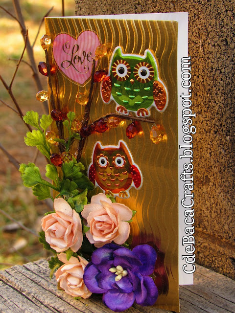 Handmade Valentine's Day Card with Owls and Flowers made by CdeBaca Crafts.