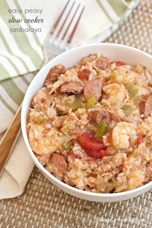 Easiest slow cooker jambalaya from YankeeKitchenNinja.com