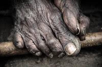 old man feet ;full of dust ;