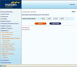 registrasi internet banking bank Mandiri