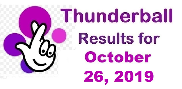 Thunderball Results for Saturday, October 26, 2019