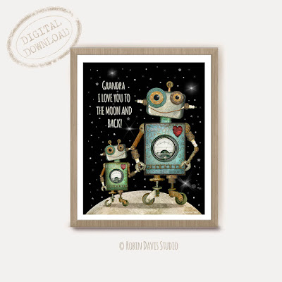Grandpa and grandson robot printable - New Grandpa gift - Robin Davis Studio