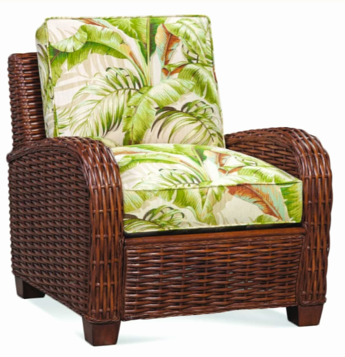 Woven Wicker Chair with Tropical Island Print