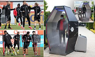 Turkish football club install huge disinfection cabinet at their training ground in preparation for league