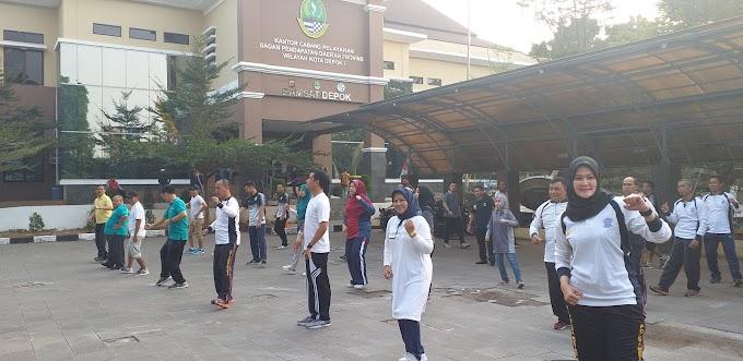 Jalin Sinergitas, Samsat Depok Gelar Olahraga Bersama
