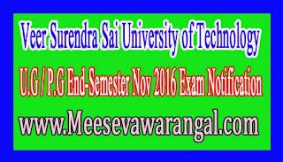 Veer Surendra Sai University of Technology PG Seating Arrangement End Semester Nov 2016 Notice